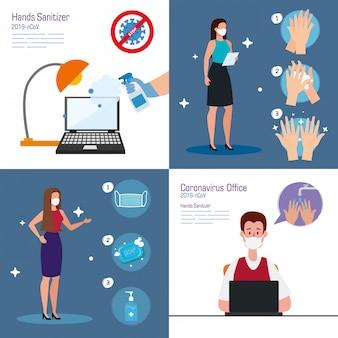 Empresários no escritório e desinfetante para as mãos