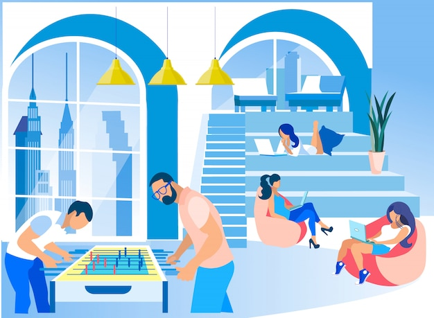 Empresários no moderno escritório criativo de coworking