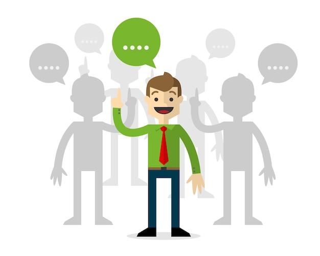 Empresários nos fóruns, falando.