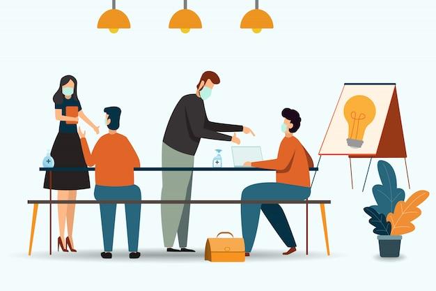Empresários ou trabalhador de escritório estão trabalhando e usando máscara. conceito de saúde, saúde e ilustrações médicas.
