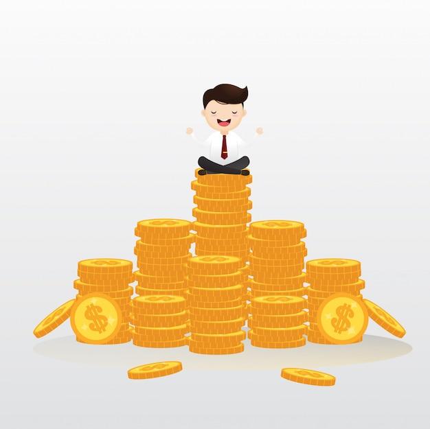 Empresários pendurados no ar meditando em dinheiro