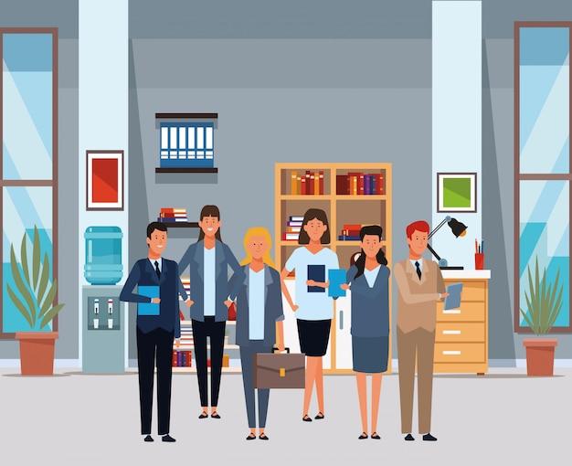 Empresários personagens de desenhos animados de avatar no escritório