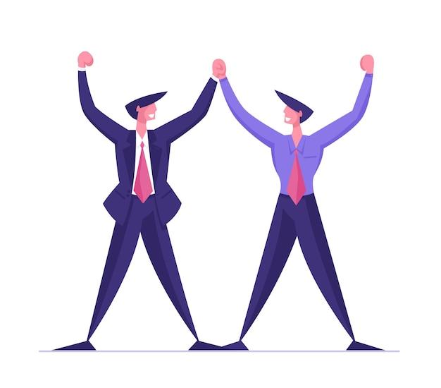 Empresários personagens reunião de projeto de parceria e acordo durante negociação