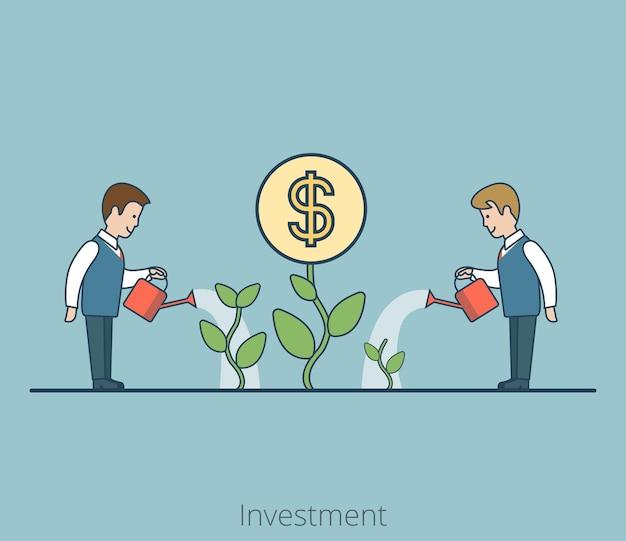Empresários planos lineares regando plantas com flor de moeda. conceito de estratégia de negócios de investimento de sucesso.