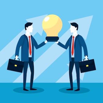 Empresários profissionais com estratégia de pasta e bulbo