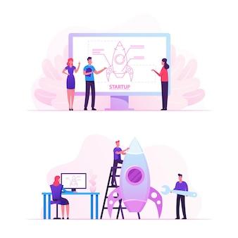 Empresários projetando e lançando startups de projetos empresariais. ilustração plana dos desenhos animados