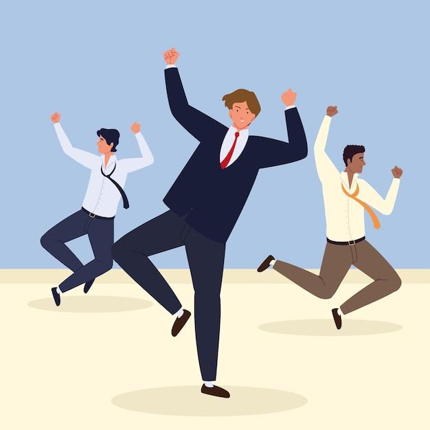 Empresários pulando comemorando com sucesso
