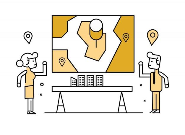 Empresários que apresentam e compartilham planejamento de localização a bordo