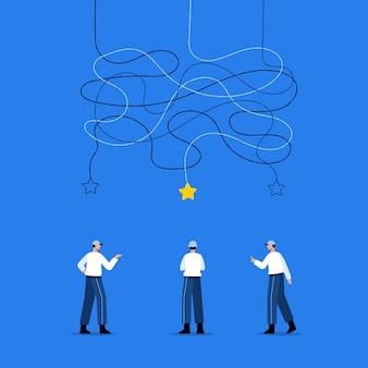 Empresários que encontram soluções para o conceito de resolução de problemas em design plano