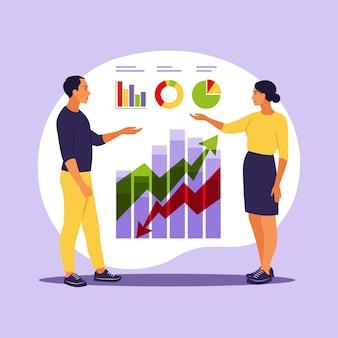 Empresários que investem em inovação com alto potencial. investidores ou empreendedores de sucesso. negociação, consultoria financeira, investimento e poupança. ilustração vetorial. apartamento.
