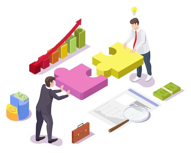 Empresários resolvendo quebra-cabeça, ilustração isométrica do vetor. trabalho em equipe, cooperação, parceria, estratégia.