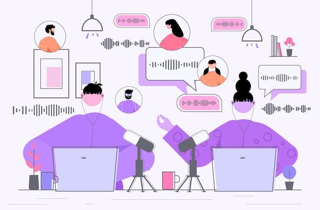 Empresários se comunicando por mensagens de voz, áudio, bate-papo, aplicativo, mídia social