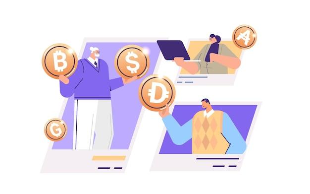 Empresários segurando moedas criptográficas de ouro criptomoeda mineração dinheiro virtual moeda digital blockchain tecnologia conceito retrato ilustração vetorial horizontal