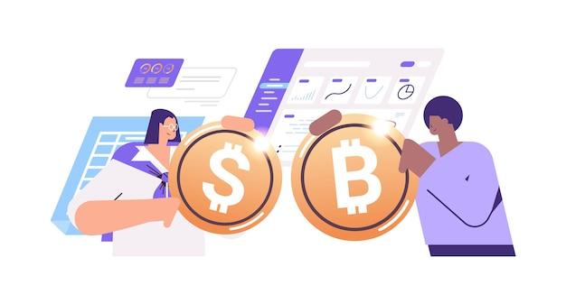 Empresários segurando moedas criptográficas de ouro criptomoeda minerando dinheiro virtual blockchain de moeda digital