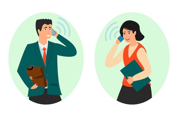 Empresários têm uma conversa com ilustração de telefone. conversa de negócios no telefone. diálogo de parceiros. homem mulher resolver problemas. central de atendimento, administrador ou secretária telefônica
