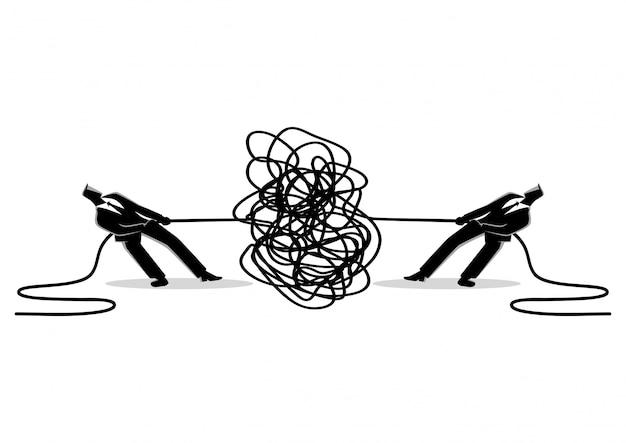 Empresários tentando desvendar cabo enrolado ou cabo