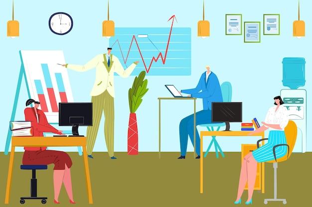 Empresários trabalham no escritório, ilustração vetorial. equipe plana homem mulher charcater usar computador, trabalho em equipe da empresa com gráfico analítico. local de trabalho com mesa, gráfico de apresentação de chefe na reunião de grupo.