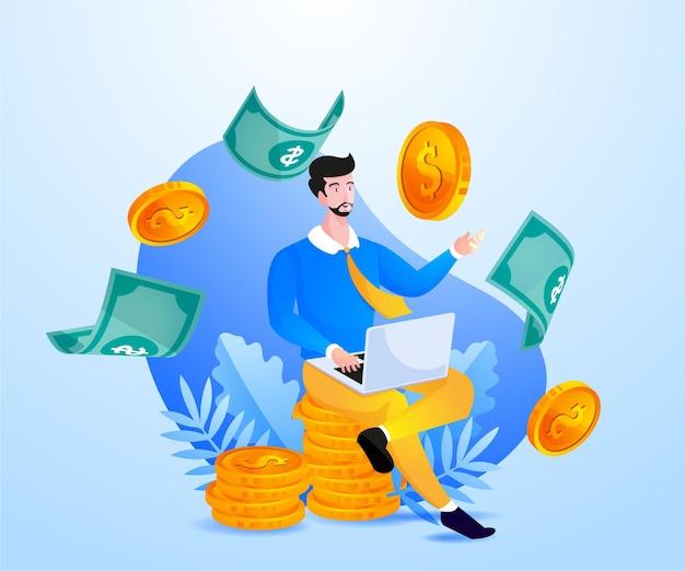 Empresários trabalhando com fins lucrativos muito dinheiro
