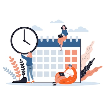Empresários trabalhando em equipe e planejando. conceito de gerenciamento de tempo. fazendo uma programação semanal. ilustração isométrica