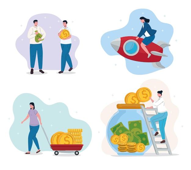 Empresários, trabalho em equipe e dinheiro conjunto de ícones