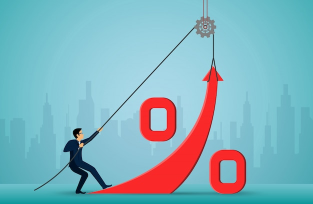 Empresários usam a corda para puxar a seta vermelha para mudar a direção