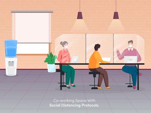 Empresários usam máscara protetora trabalhando juntos no local de trabalho com manutenção da distância social para evitar o coronavirus.