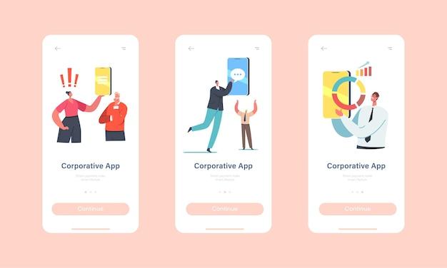 Empresários usam modelo de tela integrada de página de aplicativo móvel corporativo. minúsculos personagens com enormes smartphones usam o aplicativo da empresa para o conceito de comunicação. ilustração em vetor desenho animado