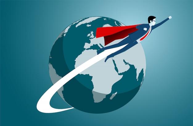 Empresários voando ao redor da terra