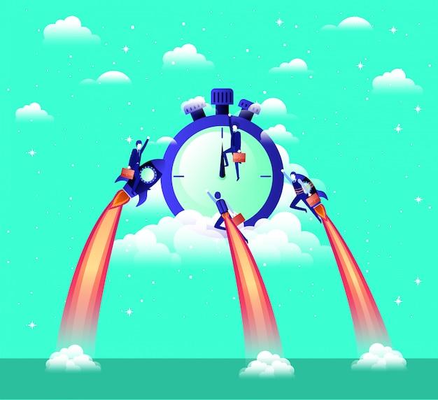 Empresários voando em foguetes começam com cronômetro