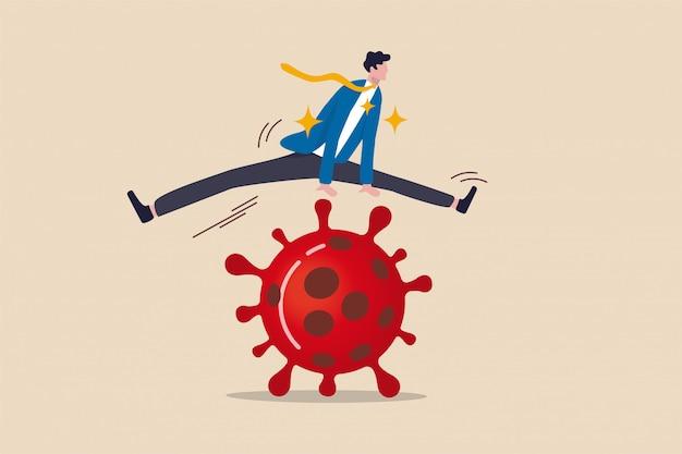 Empresas saltam sobre problema financeiro, sobrevivem e vencem no surto de coronavírus covid-19 conceito de crise econômica