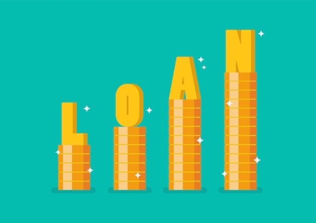 Empréstimo de palavra na pilha de passo moedas como gráfico acima