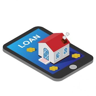 Empréstimo para habitação isométrica e imobiliário com conceito de negócio de propriedade