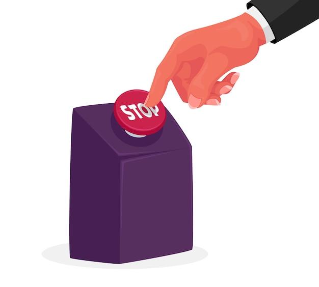 Empurrão de mão humana com o dedo no enorme botão de parada vermelho isolado, recarregamento vitalício, fim do processo, desistir do vício