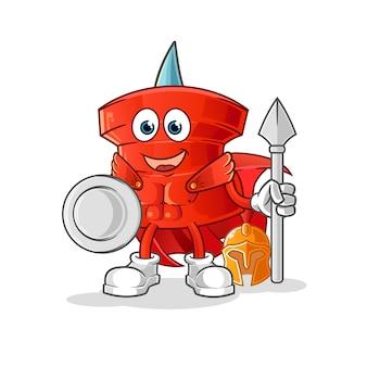 Empurre o pin personagem espartano. mascote dos desenhos animados