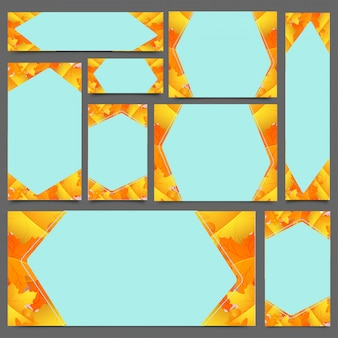 Encabeçamento ou bandeira criativa do web site ajustados nas folhas de outono.