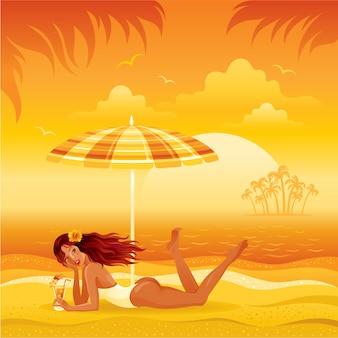 Encalhe a paisagem com a menina bronzeada no biquini que coloca sob o guarda-chuva com cocktail. ilustração de moda verão mulher.