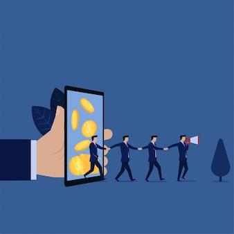 Encaminhamento comercial da recompensa on-line para celular e anúncio com o palestrante.