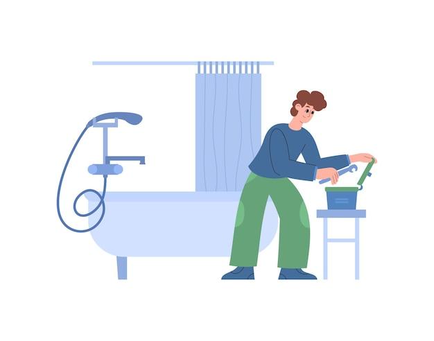 Encanador consertando tubos de banheira e ilustração vetorial plana de acessórios isolada