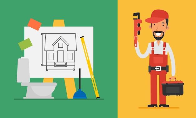 Encanador de conceito de construção segurando a chave inglesa e ferramentas. ilustração vetorial. definir objetos.