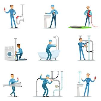 Encanador e especialista em encanamento de abastecimento de água no trabalho fazendo reparos conjunto de cenas de personagem de desenho animado