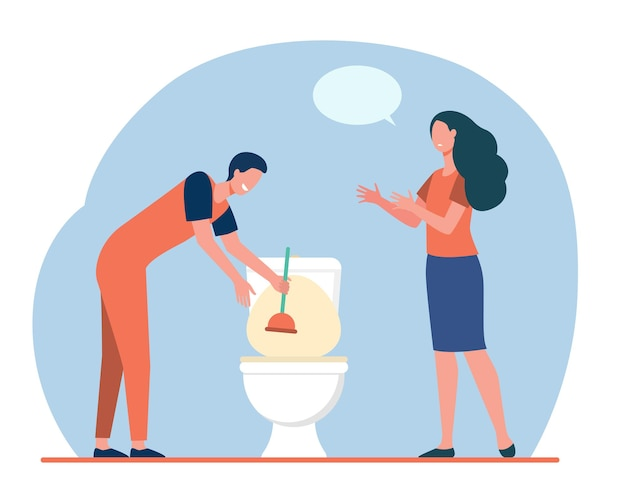 Encanador limpando pia de banheiro de entupimento