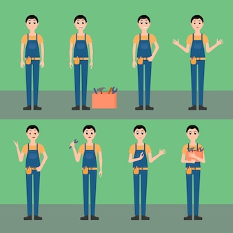 Encanador, mecânico, carpinteiro trabalhador conjunto ilustração vetorial, personagem em estilo cartoon, com caixa de ferramentas, uniforme, diferentes poses com várias emoções
