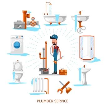 Encanador ou engenheiro de manutenção no trabalho de encanamento. reparação de serviço, ilustração