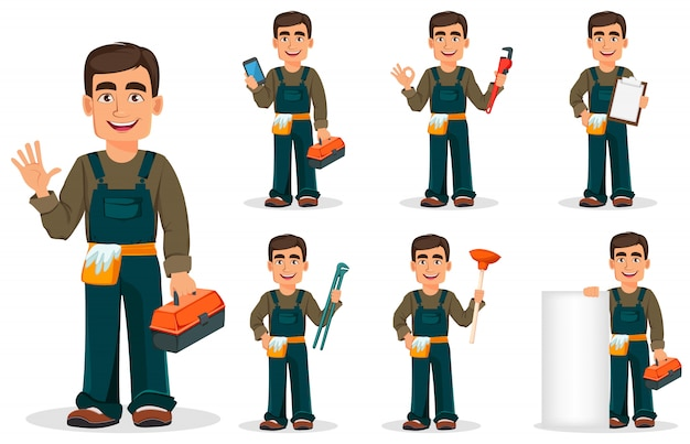 Encanador profissional de uniforme