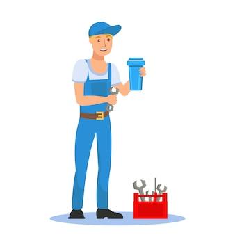 Encanador, segurando, cartucho filtro, personagem de desenho animado