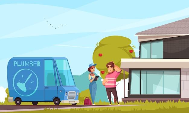 Encanador serviço chegada cartoon composição com cliente ao ar livre sua casa moderna veículo instrumentos saco senhora