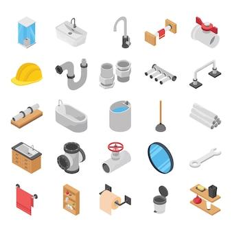 Encanador, vaso sanitário, banho de chuveiro vetores isométricos