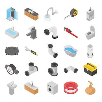 Encanador, wc, ícones isométricos de chuveiro de banho
