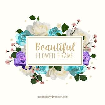 Encantadora moldura florida de aquarela