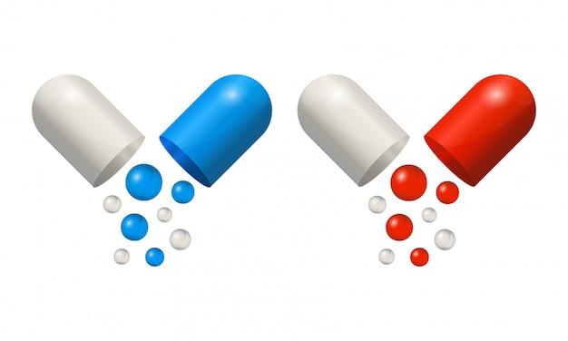 Encerre os ícones 3d comprimidos realistas, azuis e vermelhos isolados no fundo branco. bolas pequenas coloridas caindo de cápsulas médicas abertas.
